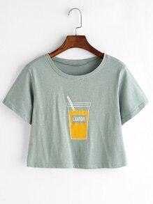 Cup Print Crop Tee