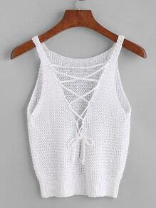 Off White Lace-up Front Crochet Top