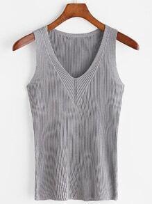 V-neckline Ribbed Knit Tank Top