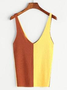 Color Block Knitted Tank Top