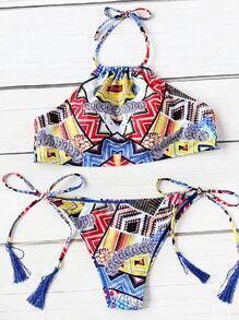 Sets de bikini con cordón de fleco estampado mixto