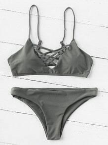 Sets de bikini escote V con tiras cruzadas