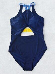 Cutout Front Open Back One-Piece Swimwear