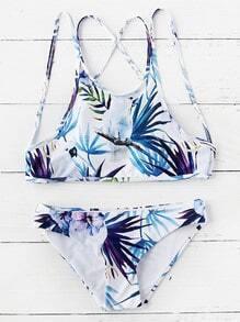 Sets de bikini estampado de pájaro blanco con tiras