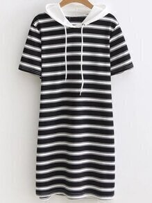 Contrast Striped Drawstring Hooded Tee Dress