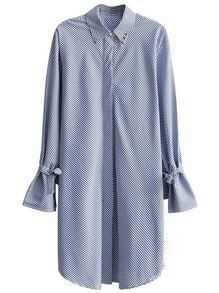 Pinstrip Tie Cuff Shirt Dress