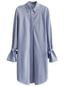 Vestido estilo camisa de rayas delgadas con cordones