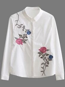 Flower Embroidery Tunic Blouse