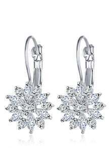 Rhinestone Flower Shaped Hoop Earrings