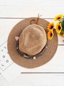 Gemstone Detail Fedora Straw Hat