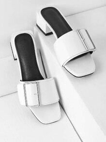 Buckle Detail Block Heeled Mules