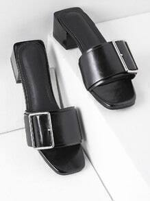 Buckle Detail Block Heeled Mules