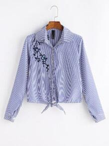 Striped Tie Front Plum Blossom Embroidered Blouse