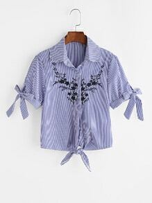 Vertical Stripe Tie Cuffs And Hem Embroidered Blouse