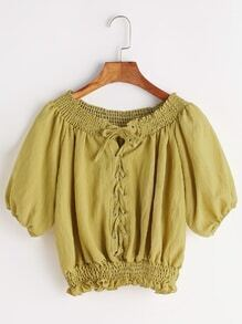 Lace-up Front Shirred Frill Hem Top