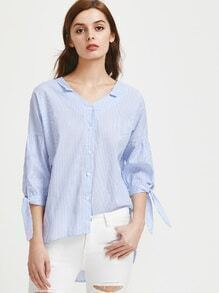 Dual V-cut Tie Cuffs Striped High Low Blouse