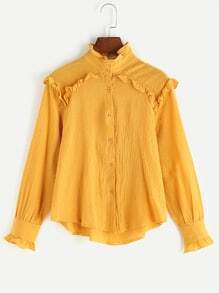 Mustard Frill Neck High Low Blouse