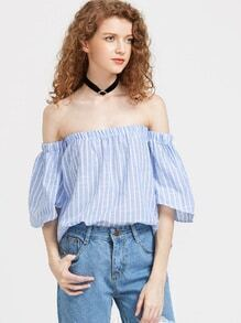 Off Shoulder Pinstripe Top