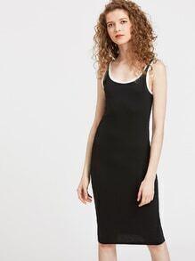 Scoop Neck Striped Trim Tank Dress