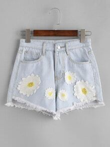 Bleach Wash Applique Raw Hem Shorts