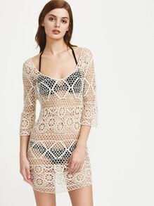 Scoop Neck Crochet Beach Cover Up