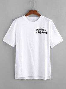 Slogan Embroidered High Low T-shirt