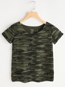 Camouflage Print Ripped Tee
