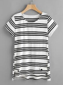 Contrast Striped Slit Dip Hem T-shirt