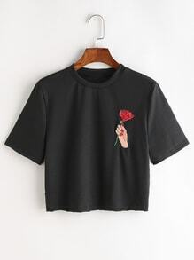 Hand And Rose Embroidered Crop Tee