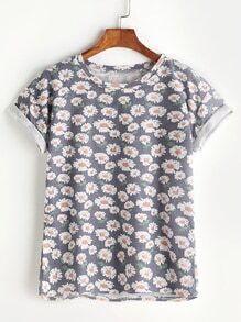 Ditsy Print Cuffed T-shirt