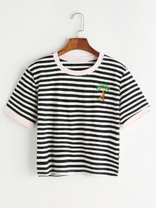 Coconut Trees Embroidered Contrast Striped Ringer Tee