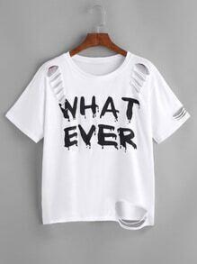 Graphic Print Distressed T-shirt