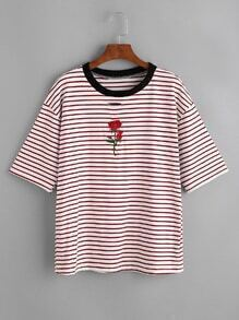 Contrast Striped Rose Embroidered Ripped Ringer Tee