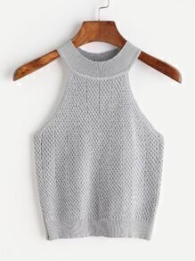 Halter Neck Cable Knit Top