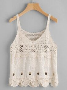 V Neckline Scalloped Hem Crochet Cami Top