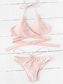 Strappy Detail Halter Wrap Bikini Set