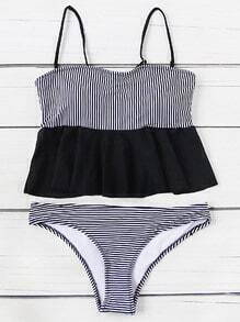 Striped Print Ruff Hem Tankini Set