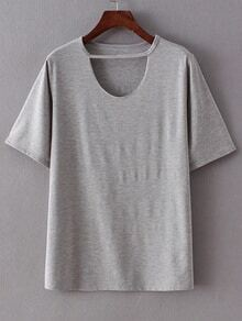 Cut Out Neck Short Sleeve T-shirt