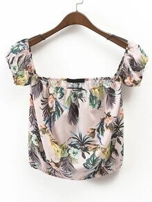 Boat Neckline Tropical Print Shirred Hem Top
