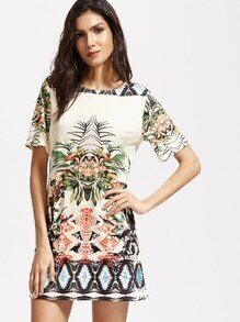 Multicolor Short Sleeve Vintage Print Dress