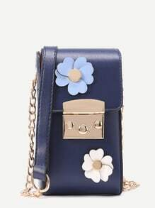 Flower Embellished Crossbody Pouch Bag