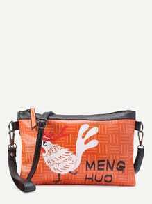 Cock Print Clutch Bag With Strap