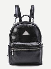 Triangle Detail PU Backpack With Detachable Strap