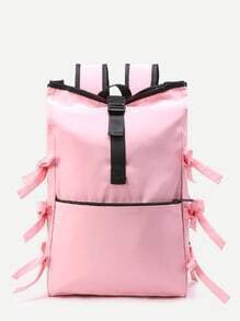 Contrast Trim Bow Tie Travel Backpack