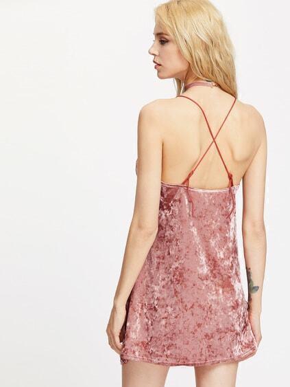 Crushed Velvet Criss Cross Back Dress