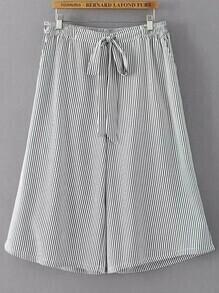 Tie Waist Vertical Striped Wide Leg Pants