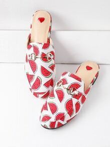Watermelon Print Loafer Mules