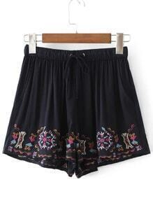 Drawstring Waist Embroidery Shorts