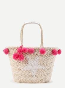 Pom Pom Stroh-Einkaufstasche