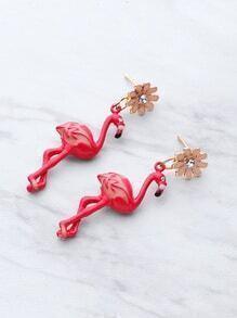 Pendientes en forma de flamingo con tachuelas